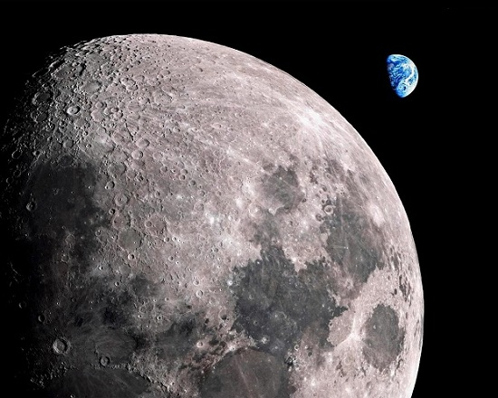вид Земли над Луной