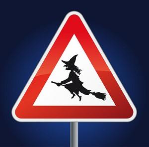 знак  Осторожно ведьмы!
