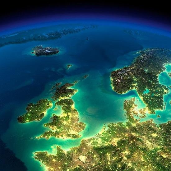 Англия и Скандинавия из космоса