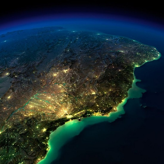 Аргентина и Бразилия из космоса