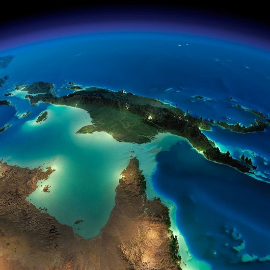 Австралия и Папуа - Новая Гвинея из космоса