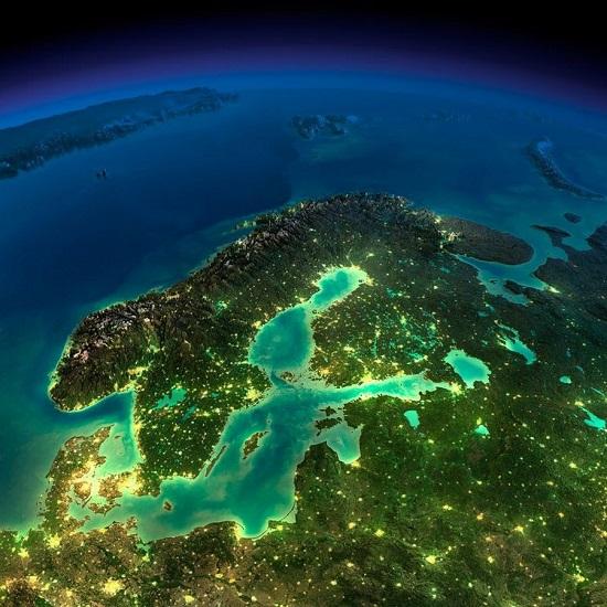 Прибалтика и Скандинавия из космоса