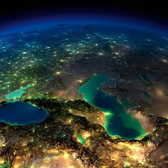 Кавказ и Каспий из космоса