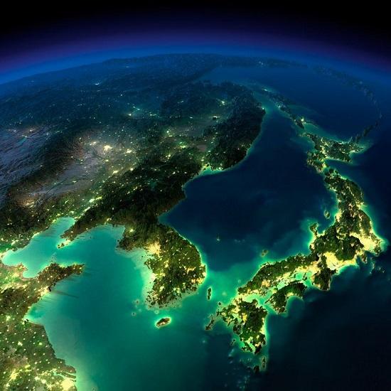 Китай, Корея, Япония из космоса