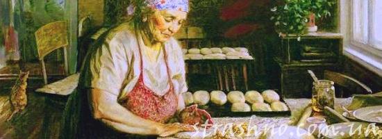 бабушка печёт булочки