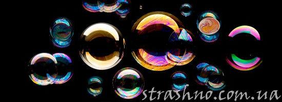 мыльные пузыри на чёрном фоне