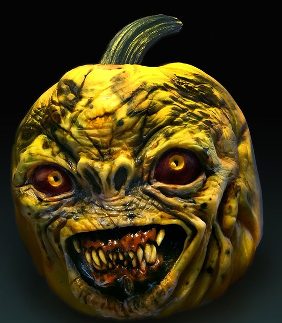 страшная рожа из тыквы на Хэллоуин