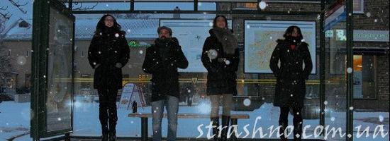 зимой на остановке