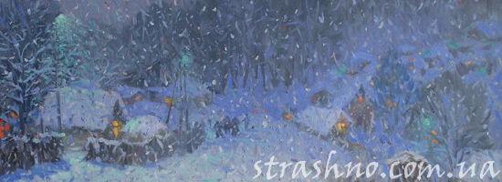 Падающий снег в зимней деревне