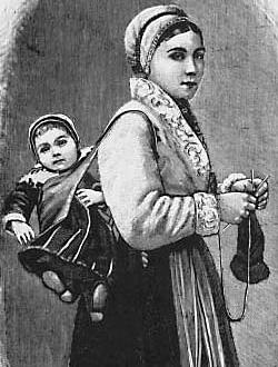 Горожанка 19-го века с ребенком