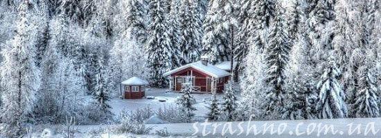 домик в зимнем лесу
