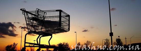 парковка супермаркет закат