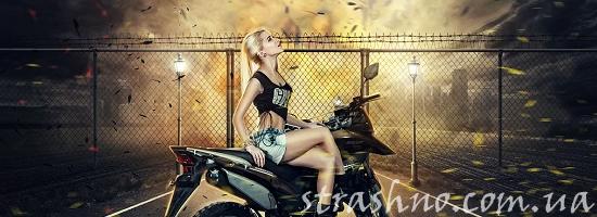 девушка мотоцикл