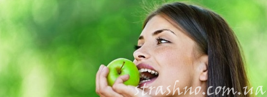 девушка яблоко