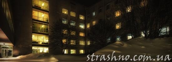 больница зима ночь