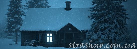 дача зимой ночь