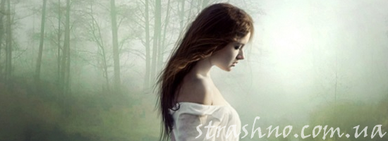 лес девушка в белом