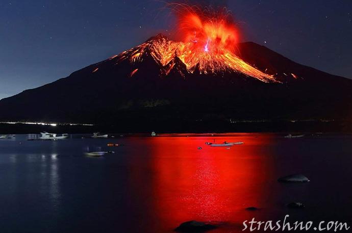 Извержение японского вулкана