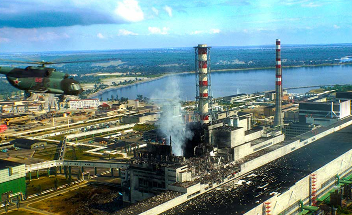 тушение пожара на Чернобыльской атомной станции