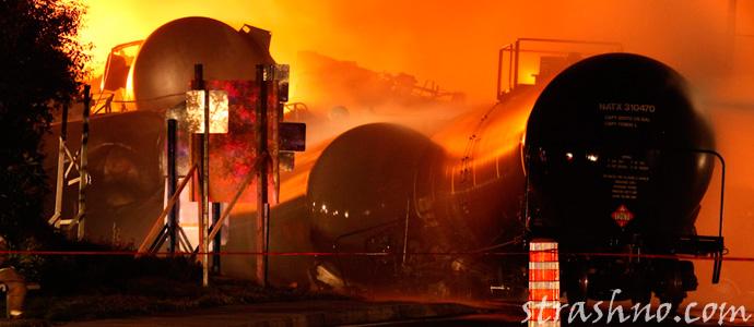 взрыв цистерн с нефтью в Лак-Мегантик