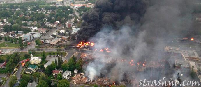 горение сырой нефти в Лак-Мегантик