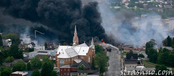 страшный пожар после аварии на железной дороге