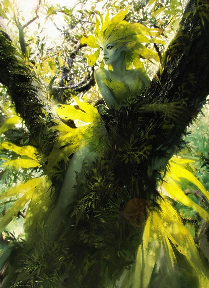 Дриада в лесу