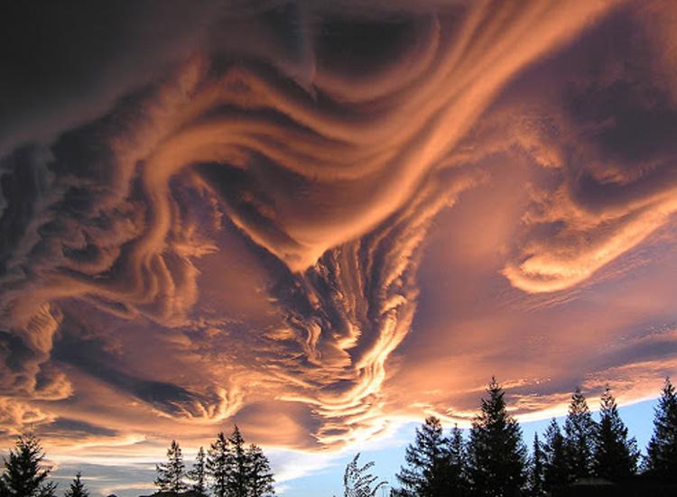 оранжевые облака
