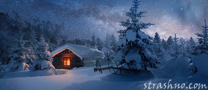 охотничий домик в зимнем лесу